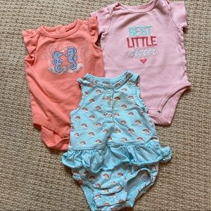 Baby Girl Bodysuits Size 3 - 6 Months